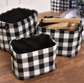 Rental store for PLAID BASKETS BLACK WHITE FABRIC  3SET in Edmonton AB